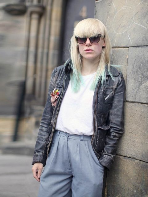 "<p>Alex wears <a href=""http://www.superdry.com/"">Superdry</a> jacket, <a href=""http://www.topshop.com/?geoip=home%23"">Topshop</a> T-shirt, vintage trousers.</p><p><em>More street style galleries:</em></p><p><a href=""http://www.elleuk.com/style/street-styl"