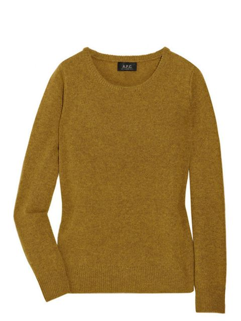 """<p><a href=""""http://www.apc.fr/wwuk/woman/pullovers/crew-neck-pullover-in-wool_pFV265669/colour-ochre-chine_dBA00003082-BV00256301.html"""">A.P.C.</a> wool sweater, £140</p>"""