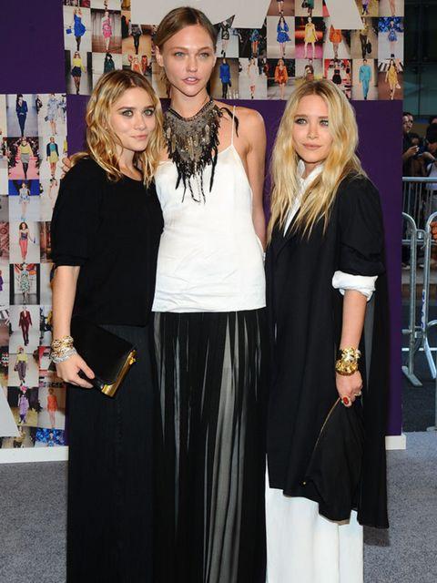 <p>Mary-Kate Olsen, Sasha Pivovarova and Ashley Olsen all wearing The Row</p>
