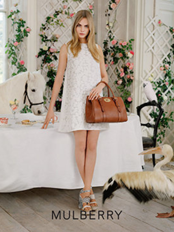 <p>Cara Delevingne for Mulberry, spring/summer 2014</p>