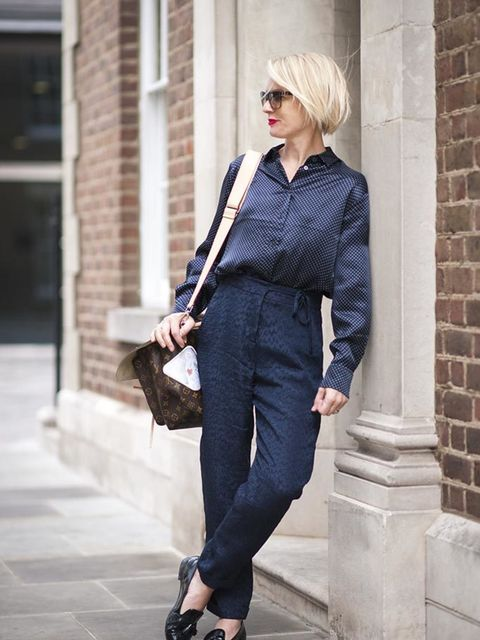 Lorraine Candy, Editor-in-ChiefAlexa Chung for AG jeans shirt, Topshop trousers, Louis Vuitton bag, Prada shoes, Bobbi Brown glasses