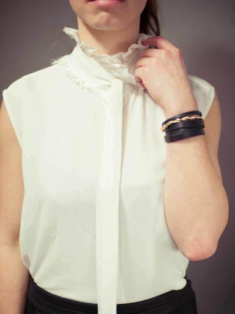 "<p>Tereza Jichova, Designer:</p><p><a href=""http://www.acnestudios.com/"">Acne</a> blouse</p>"