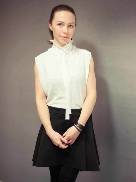 "<p>Tereza Jichova, Designer:</p><p><a href=""http://www.acnestudios.com/"">Acne</a> blouse, <a href=""http://www.hm.com/gb/"">H&amp&#x3B;M</a> skirt</p>"