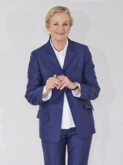 <p>Jil Sander taking her bow at the end of the catwalk show during Milan Fashion Week</p>