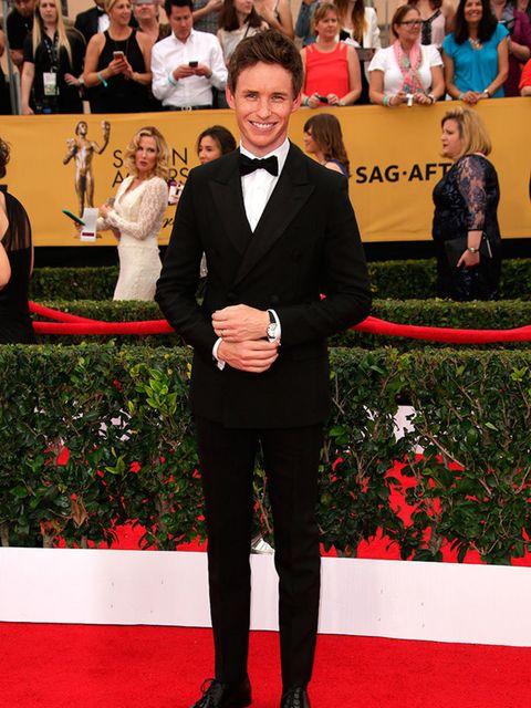 "<p><a href=""http://www.elleuk.com/tags/eddie-redmayne"">Eddie Redmayne</a>&nbsp&#x3B;wears Prada at the 2015&nbsp&#x3B;SAG Awards.</p>"