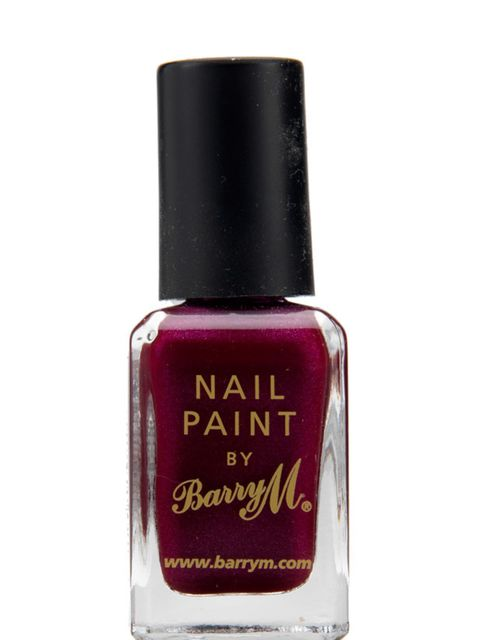 "<p><a href=""http://www.barrym.com/nail-paints"">Barry M</a> burgundy nail polish, £3</p>"