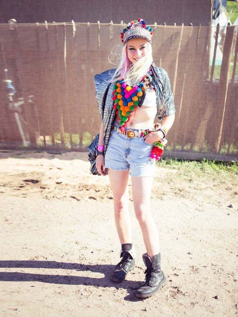 <p>Fred Butler wears Fred Butler bag, vintage Levi's cut offs, homemade hat, indian necklace, vintage belt, pladium boots. hair colour by Fudge.</p>