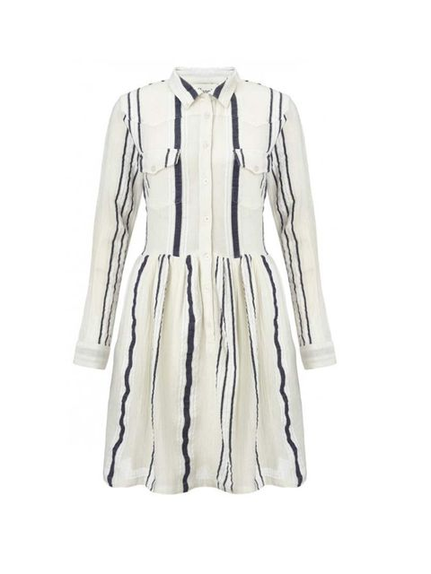 "<p>Pair with tan ankle boots and layers of gold jewellery.</p><p>Ganni dress, £110 at <a href=""http://www.atterleyroad.com/linen-stripe-dress-1.html"">Atterley Road</a></p>"