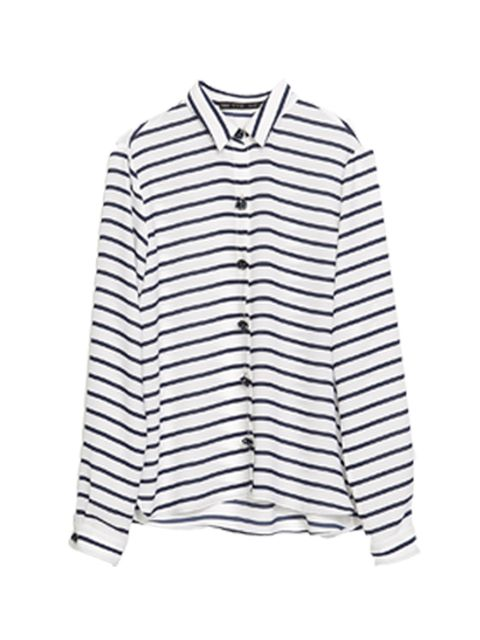 """<p>This striped shirt is perfect for masculine/feminine dressing.</p><p>Shirt by <a href=""""http://www.zara.com/uk/en/woman/shirts/shirts/striped-shirt-with-jewel-buttons-c401033p1720502.html"""">Zara</a>, £29.99</p>"""
