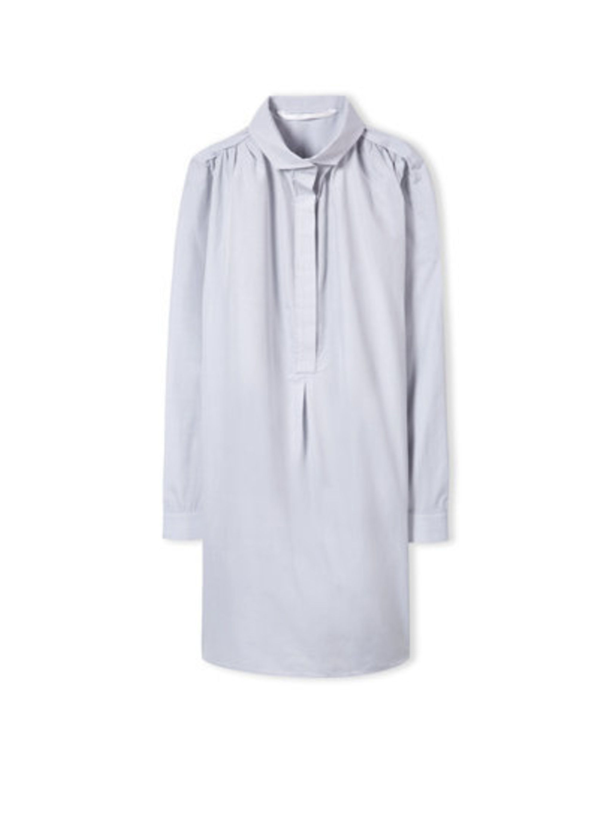 "<p>A luxury basic that every wardrobe needs. Wear with bear legs and ankle boots for easy (and breezy) springtime dressing. </p><p><a href=""http://ateaoceanie.com/shop/dresses/stevenson-shirt-dress-oxford-blue-marled-cotton"">Atea Oceanie</a> shirt dress,"