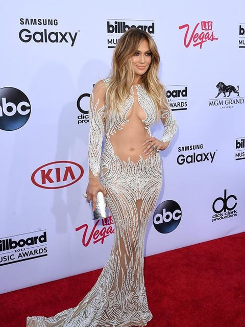 <p>Jennifer Lopez wears Charbel Zoe at the Billboard Music Awards in LA, May 2015.</p>