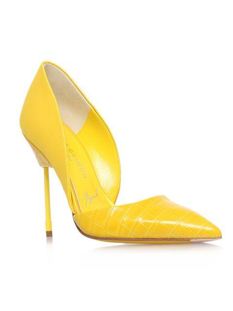"""<p><a href=""""http://www.kurtgeiger.com/bond-yellow-leather-38-5-kurt-geiger-london-shoe.html"""" target=""""_blank"""">Kurt Geiger</a> heels, £270</p>"""