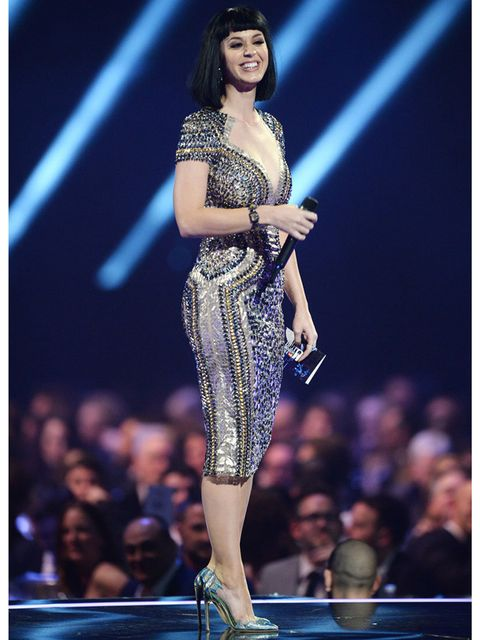 """<p><a href=""""http://www.elleuk.com/star-style/celebrity-style-files/katy-perry"""">Katy Perry</a> wears Julien Macdonald to present at the BRIT Awards 2014.</p>"""