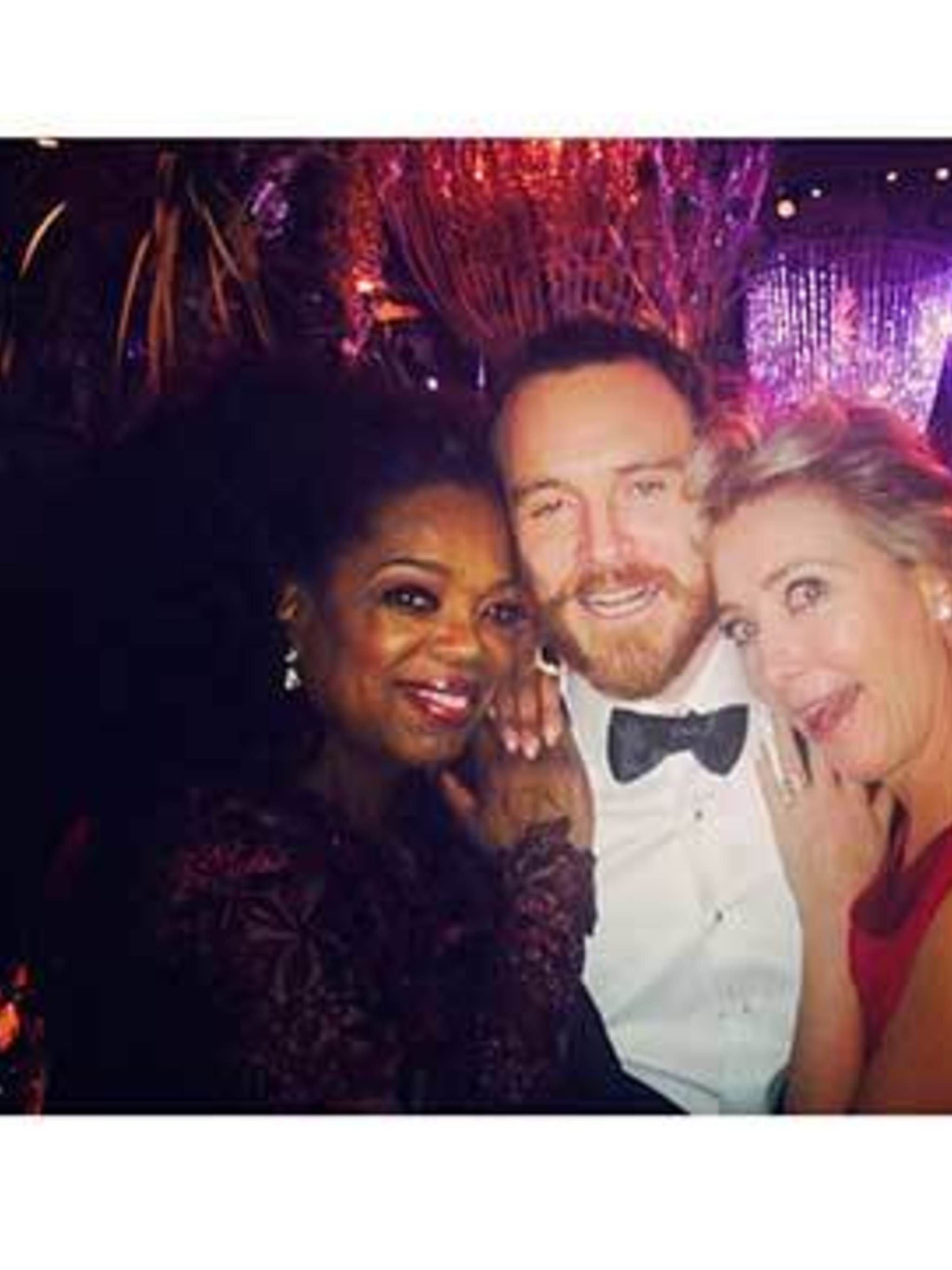 <p>Oprah hanging out with Michael Fassbender and Emma Thompson at the BAFTA's</p>