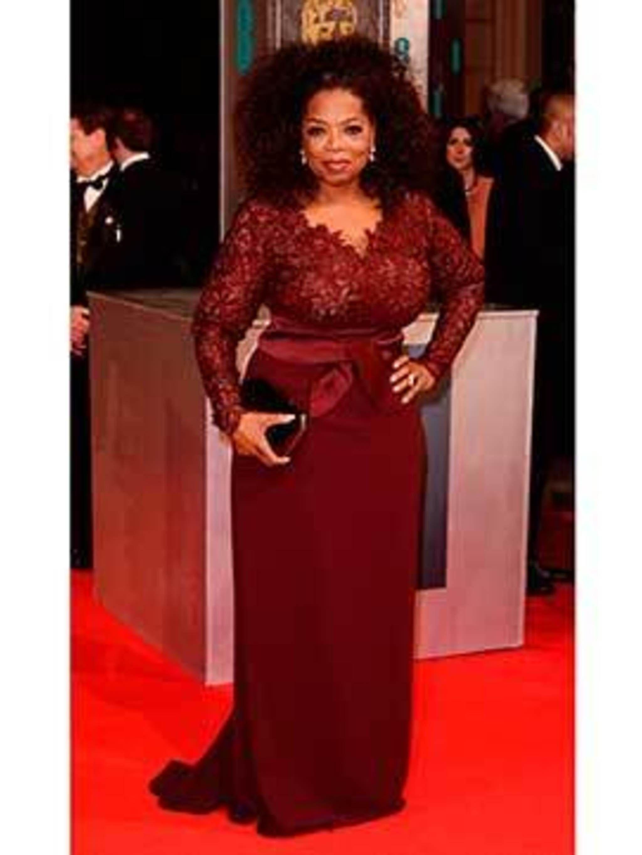 <p>Oprah wearing Stella McCartney on the BAFTA red carpet</p>