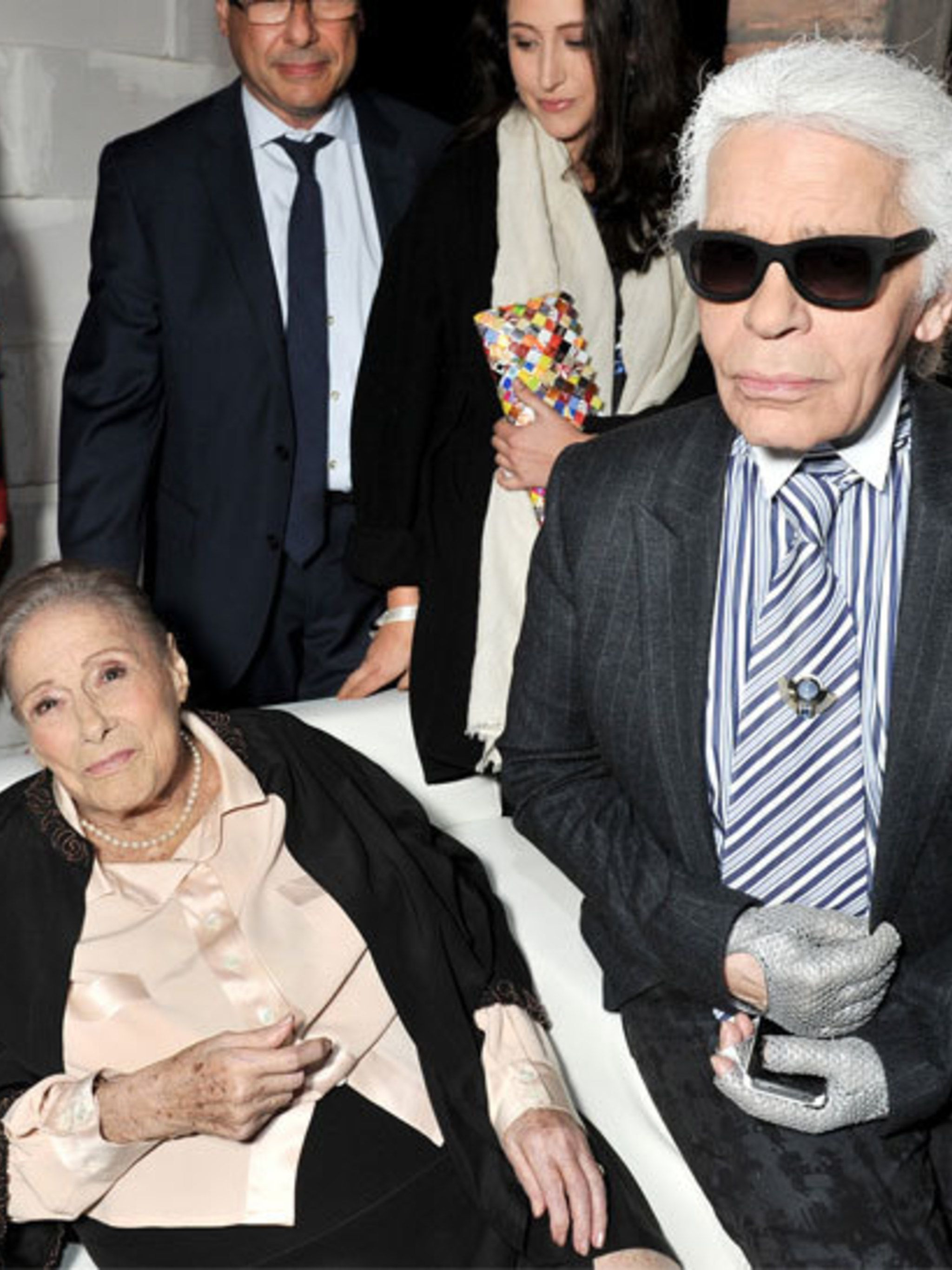 "<p>Former Chloe designer <a href=""http://www.elleuk.com/content/search?SearchText=Karl+Lagerfeld&SearchButto"">Karl Lagerfeld</a> and Chloe founder Gaby Aghion at the house's 60th anniversary party</p>"
