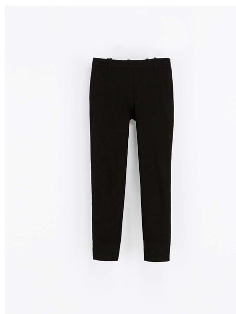 """<p>Wear with a pair of basic black tailored trousers. Ideal for day and night.</p><p><a href=""""http://www.zara.com/uk/en/woman/trousers/jeans-with-side-zip-c436519p1607008.html"""">Zara</a>, £9.99</p>"""