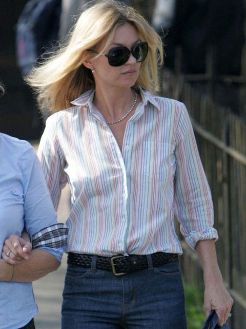 "<p>Kate Moss wears a striped button down shirt with high waist jeans.</p><p><em><a href=""http://www.elleuk.com/star-style/celebrity-style-files/kate-moss"">View our Kate Moss Style File here</a></em></p>"