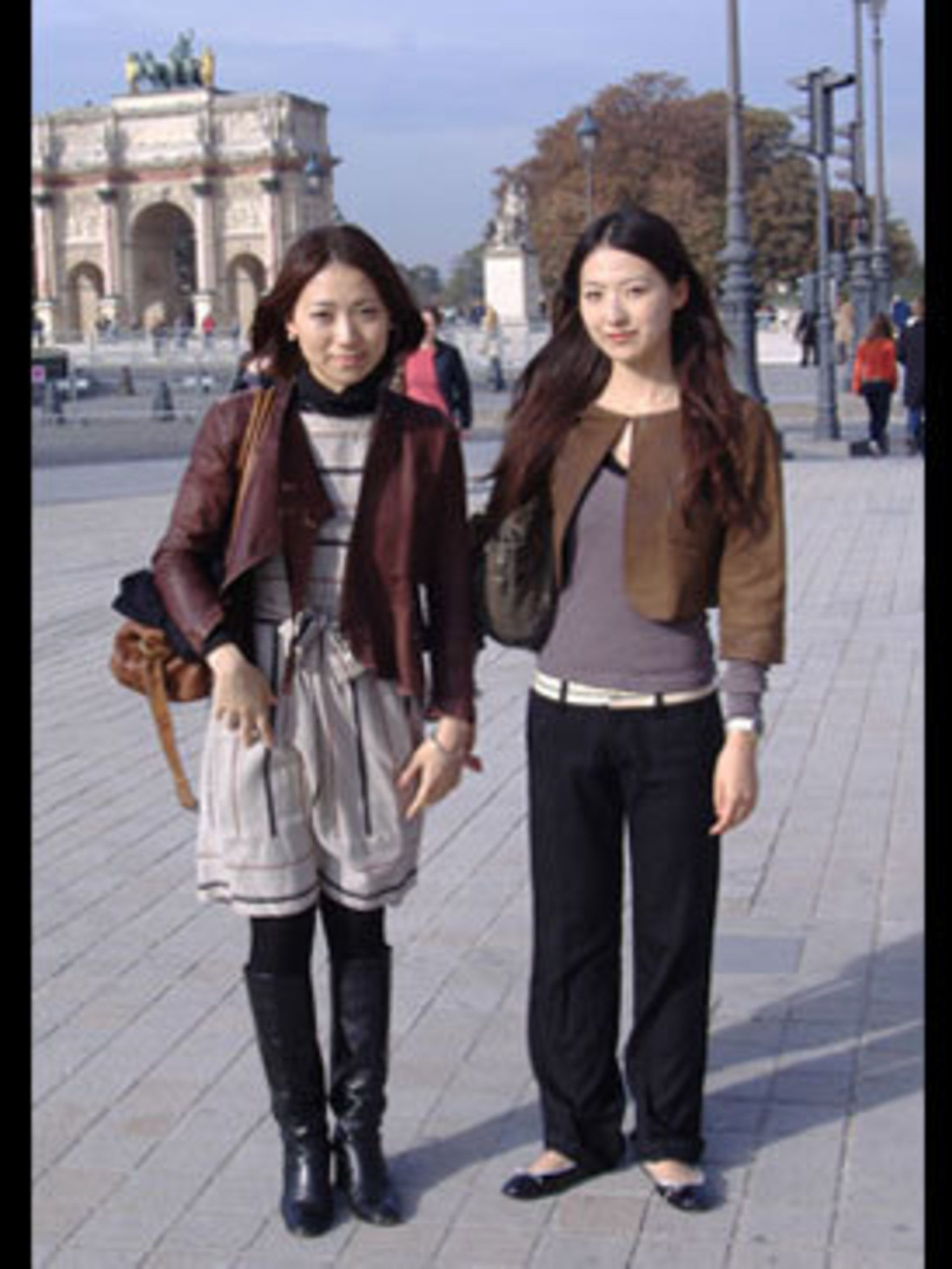 <p>Jacket over striped dress and riding boots for Fumiko, cropped jacket over straight trousers and ballet pumps for Tomomi - Japanese girls are always at the height of fashion.</p>