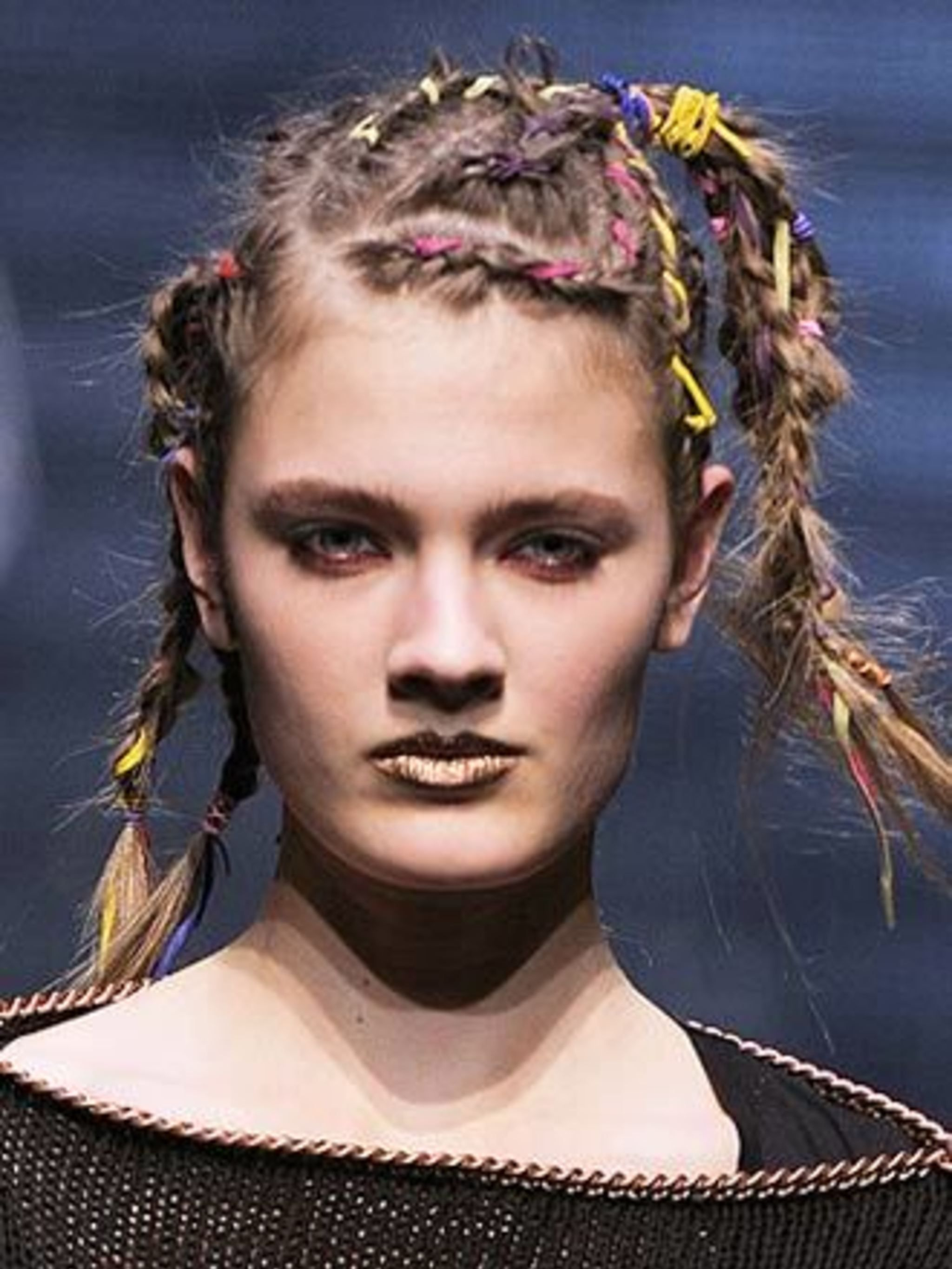 <p><strong>Plaits</strong>At Topshop Unique, hair stylist Sam Hillerby created cool, edgy plaits inspired by 80's star Bow Wow Wow, and employed the help of corn braiding specialists from the Lady Diamond Salon in Hackney. Guido's wet-look plaits for Luel