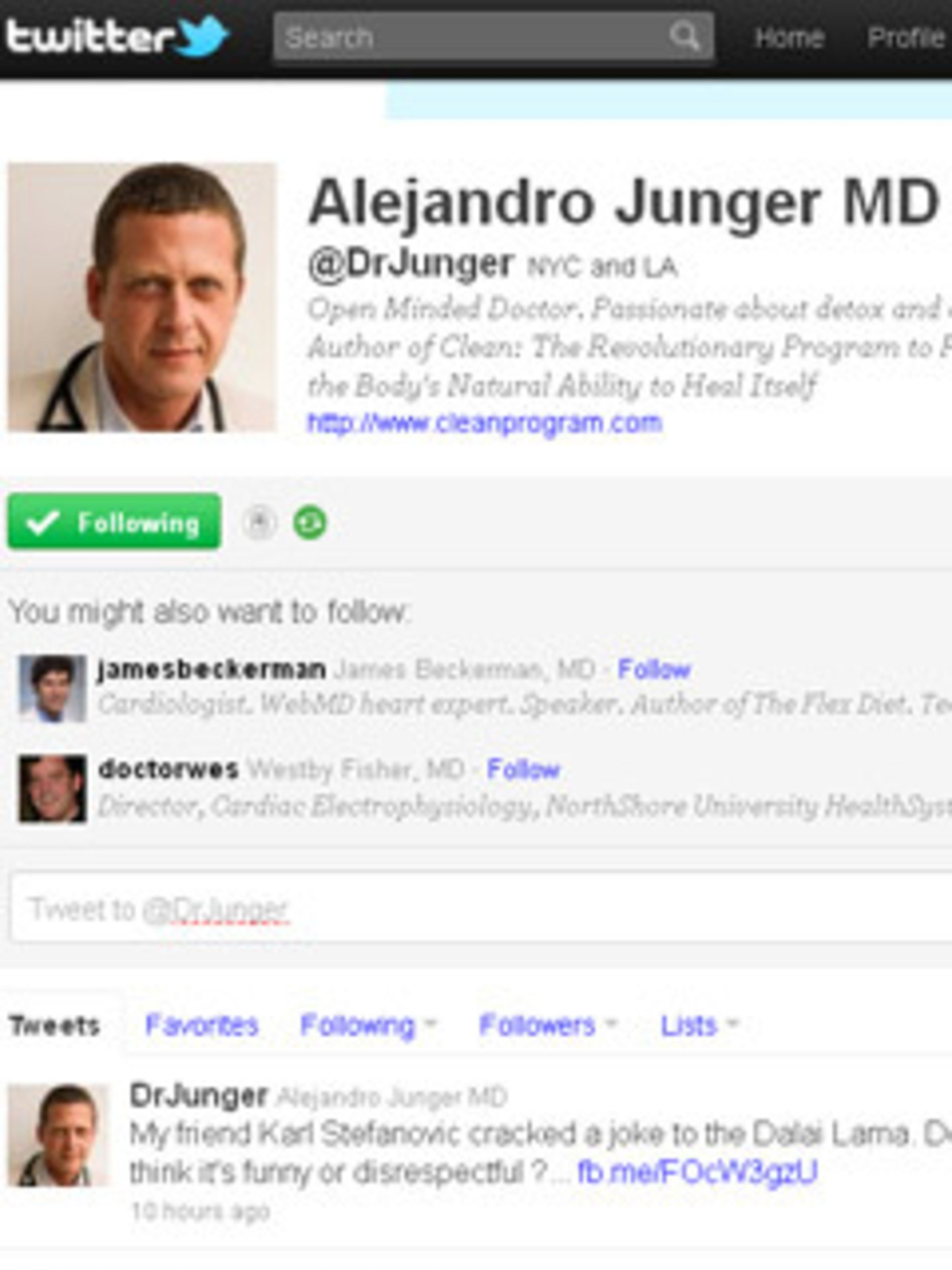 <p><strong>@DrJunger</strong>Maintaining a healthy immune system and restoring your body to a non-toxic state is what this NYC based MD is all about. His tweets are full of tips on what foods to choose and what to avoid in order to keep a balanced system,
