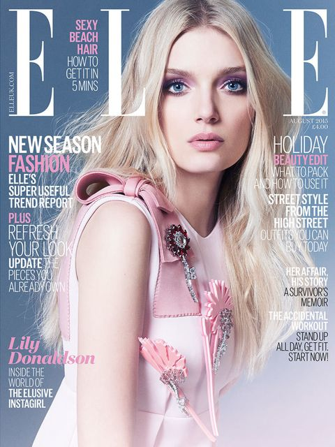 "<p>Lily Donaldson on the cover of <a href=""http://www.elleuk.com/now-trending/model-lily-donaldson-august-2015-british-elle-magazine-cover"">ELLE's August Issue 2015</a></p>"
