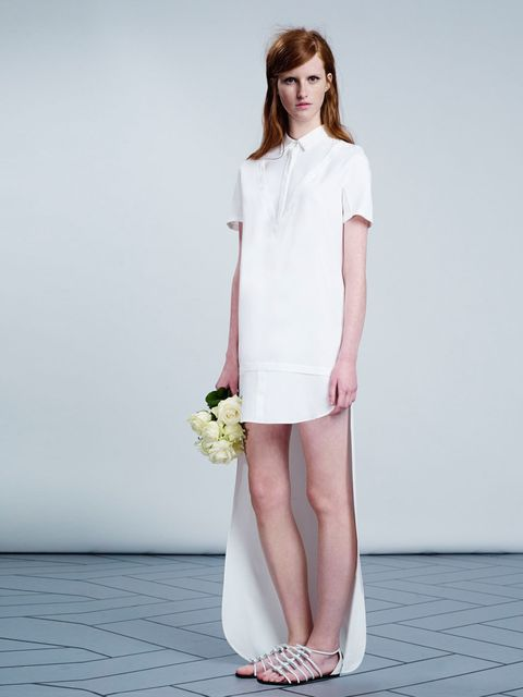"""<p><strong>They say:</strong> 'A combination ivory silk crepe de chine shirt/dress with extended floor-length hem train with and layering detail.'</p><p><strong>We say:</strong> 'Brave.'</p><p><em><a href=""""http://www.elleuk.com/style/occasions/elle-weddin"""