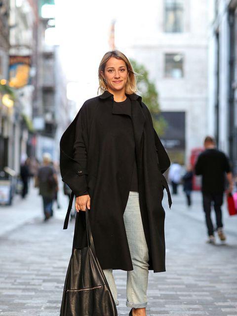<p>Delphine Gaultier</p>  <p>Nicole Farhi coat, Cos top and bag, Armani jeans, & Other Stories shoes.</p>