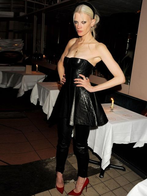 <p>Kristen McMenamy in leather at a Christmas party, December 2012.</p>