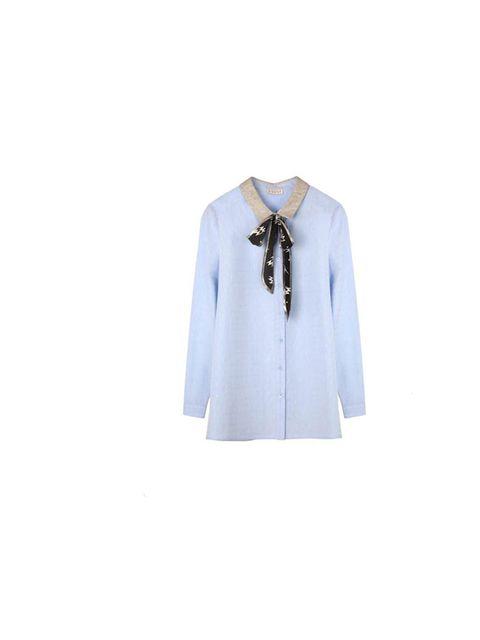 """<p><a href=""""http://www.claudiepierlot.com/en/tops-shirts/chemise-chlea-bis.html?color=1748"""">Claudie Pierlot</a> shirt, £115</p>"""