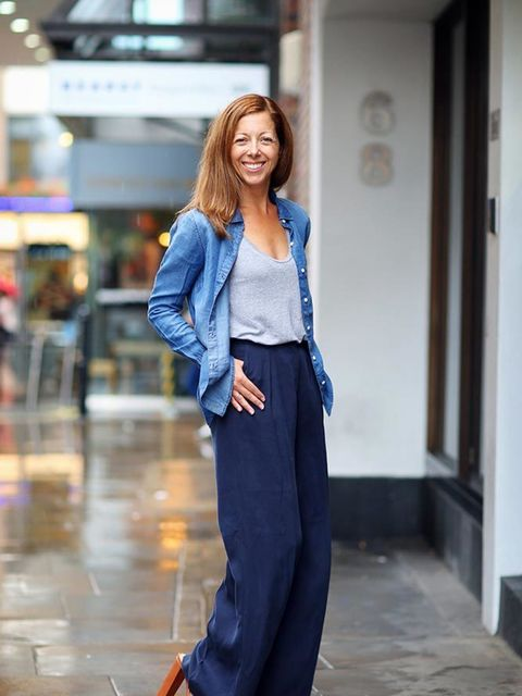 <p>Kirsty Dale, Executive Fashion and Beauty Director</p>  <p>Conscious denim shirt, Conscious trousers</p>