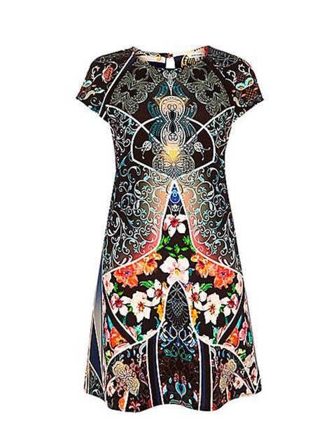 "<p><a href=""http://www.riverisland.com/women/dresses/swing-dresses/beige-print-swing-dress-676719"" target=""_blank"">River Island swing dress</a>, £50 + your RI 25% discount card = £37.5</p>"