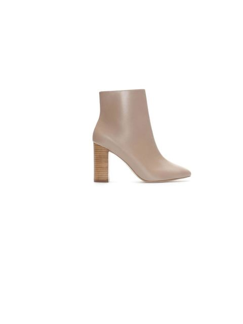 "<p>Say more with less with <a href=""http://www.zara.com/uk/en/woman/shoes/ankle-boots/leather-ankle-boot-with-contrasting-heel-c288001p1403651.html"">Zara</a>'s nearly naked shoes for understated off-duty chic, £79.99</p>"