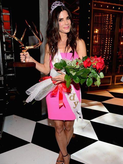 <p>Sandra Bullock backstage at the Spike TV's Guys Choice 2014 awards.</p>