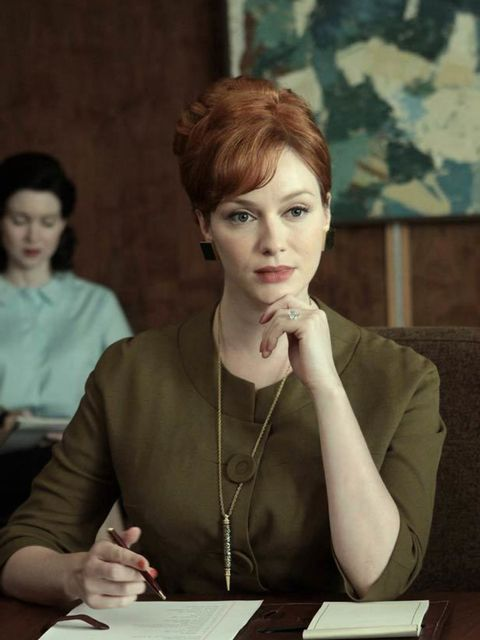"<p><a href=""http://www.elleuk.com/content/search?SearchText=christina+hendricks&amp&#x3B;SearchButton=Search"">Christina Hendricks</a> character Joan Harris in a skirt-suit designed by Janie Bryant</p>"