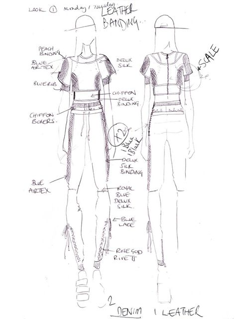 <p>Designer Katy Eary's sketch of Cheryl Cole's stage wear</p>