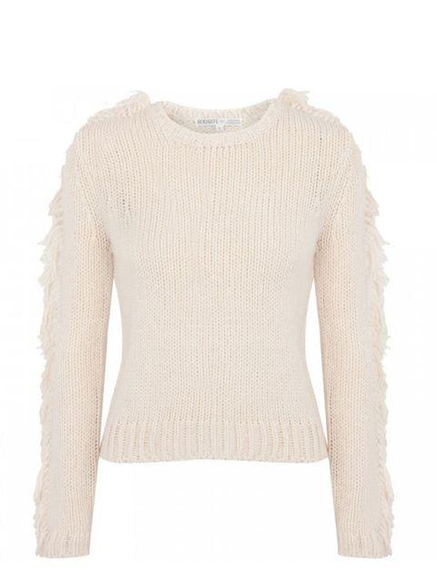 "<p>Rodarte for Opening Ceremony fringed jumper, £530, at <a href=""http://www.harveynichols.com/womens/categories-1/designer-knitwear/jumpers/s368530-fringed-jumper.html?colour=CREAM"">Harvey Nichols</a></p>"