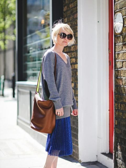 <p>Lorraine Candy, Editor-In-Chief</p><p>MiH sweater, Marks &amp&#x3B; Spencer skirt, Coach bag, Tom Ford sunglasses</p>