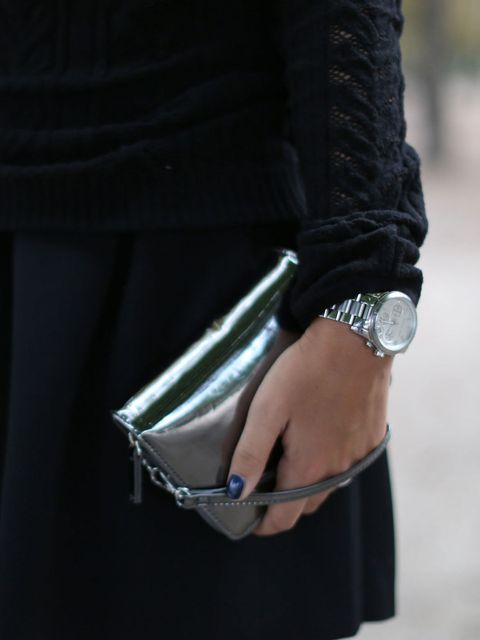 <p>Silver metallic watch seen at Paris Fashion Week</p>