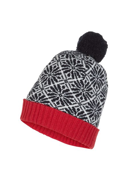 """<p>This printed bobble hat is a fun way to keep warm.</p><p><a href=""""http://www.hobbs.co.uk/product/display?productID=0214-1837-388200&refpage=accessories/hats-umbrellas"""" target=""""_blank"""">Hobbs bobble hat</a>, £25.</p>"""