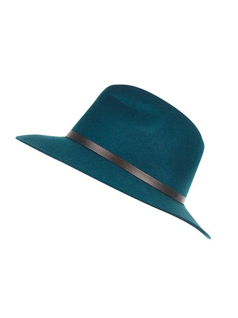 """<p>For effortless elegance, try a fedora.</p><p><a href=""""http://www.riverisland.com/women/accessories/hats/Green-leather-look-trim-fedora-hat-666452"""" target=""""_blank"""">River Island fedora</a>, &pound&#x3B;25.</p>"""
