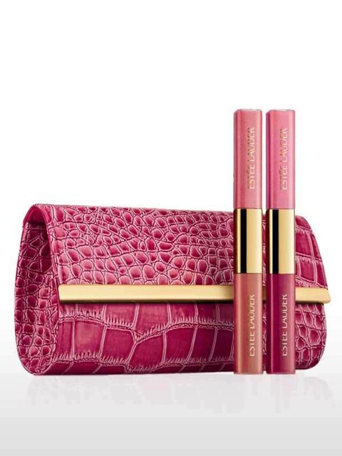 <p>Designed by Elizabeth Hurley this mock-croc make-up bag houses four super wearable pink-hued glosses. 33% goes to The Breast Cancer Research Foundation.</p><p>Estee Lauder, Elizabeth Hurley Lip Collection, £25 </p>