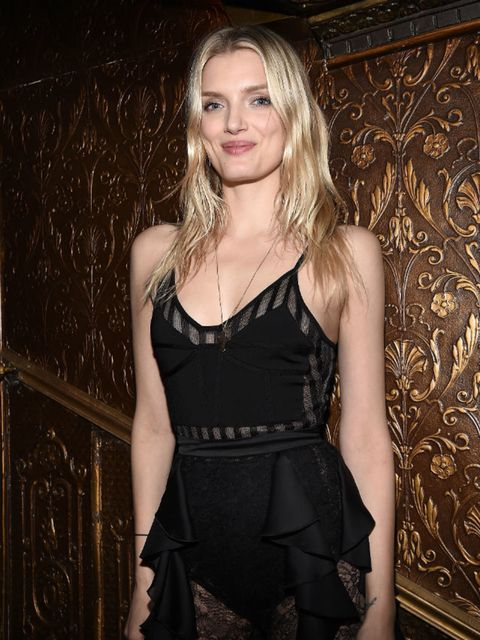 Lily Donaldson attends Balmain aftershow party during Paris Fashion Week, March 2016.