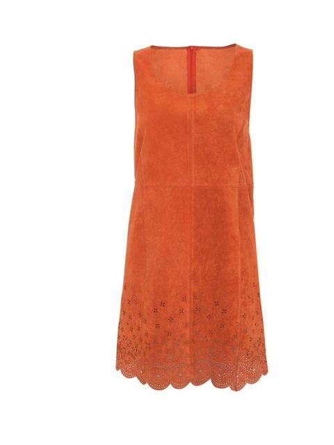 <p>Topshop Festival laser-cut suede dress, £110</p>