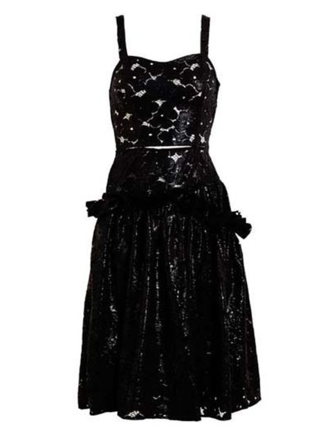 """<p>Boned black floral lace dress with wet-look coating, and a defined waist with cut-out detailing. This showpiece dress is £1,260 at <a href=""""http://www.brownsfashion.com/product/038S09740007/027/wet-floral-lace-dress"""">Browns</a>.</p>"""