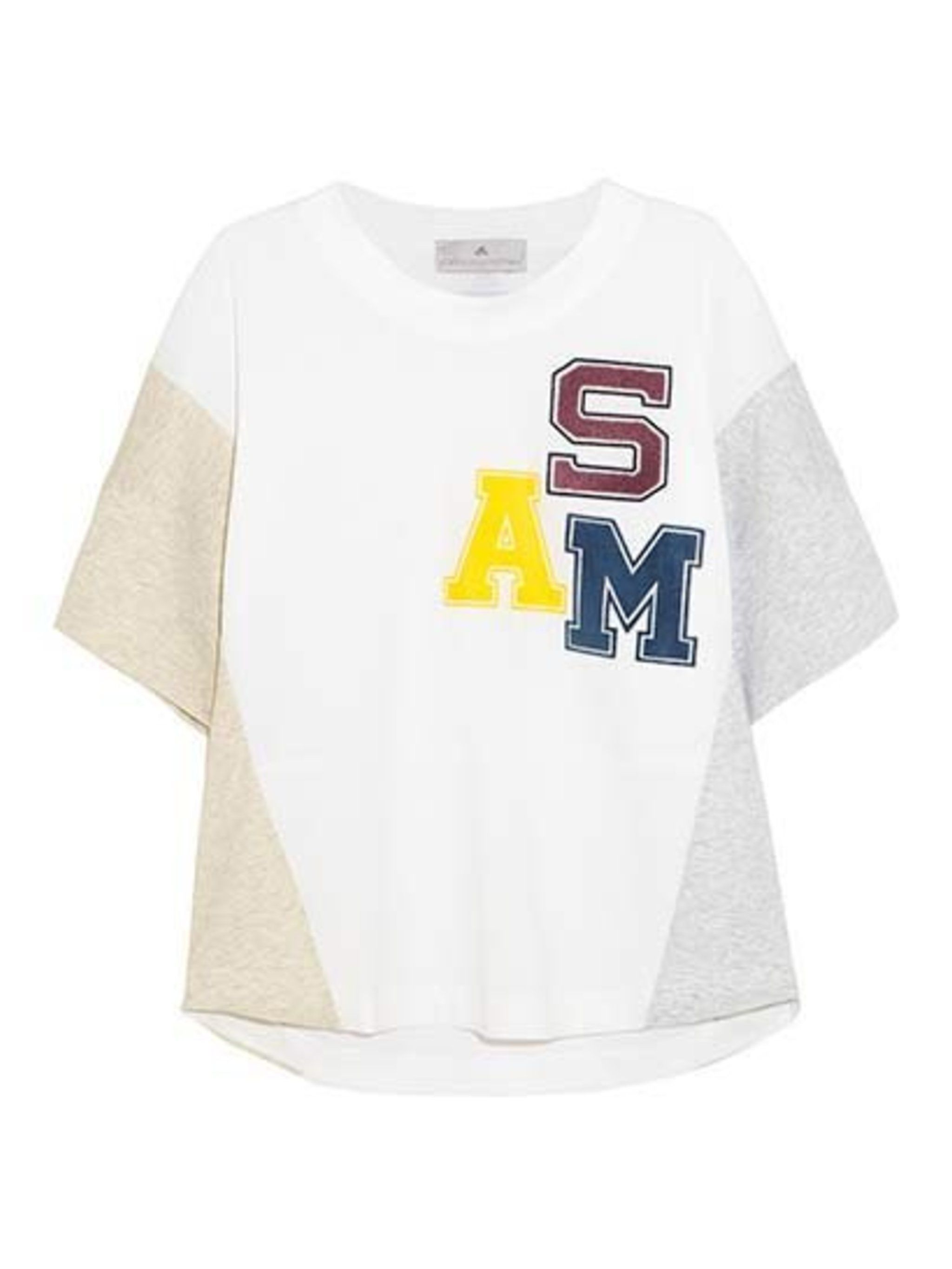 "<p>Adidas by Stella McCartney, £60 at <a href=""http://www.net-a-porter.com/product/405798/Adidas_by_Stella_McCartney/appliqued-cotton-jersey-t-shirt"">Net-a-Porter</a>.</p>"