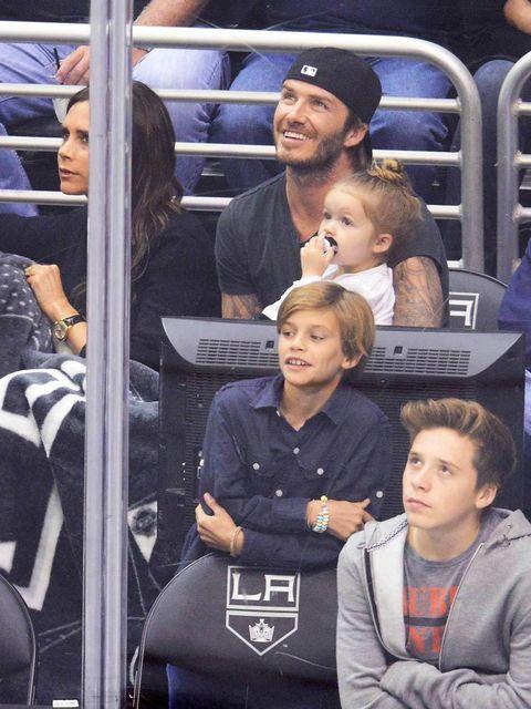 <p>David, Victoria, Brooklyn, Romeo and Harper Beckham</p>