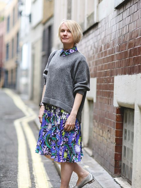 <p>Lorraine Candy, Editor-in-Chief</p><p>Peter Pilotto dress, Helmet Lang jumper, Nicholas Kirkwood shoes, Givenchy bag and Apple watch</p>