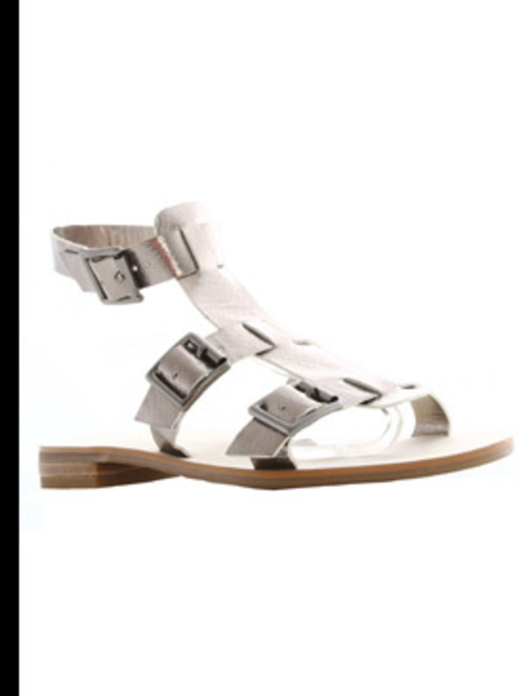 """<p>""""Din"""" Sandal, £55, sizes 36 - 41, French Connection, 0207 036 7200</p>"""