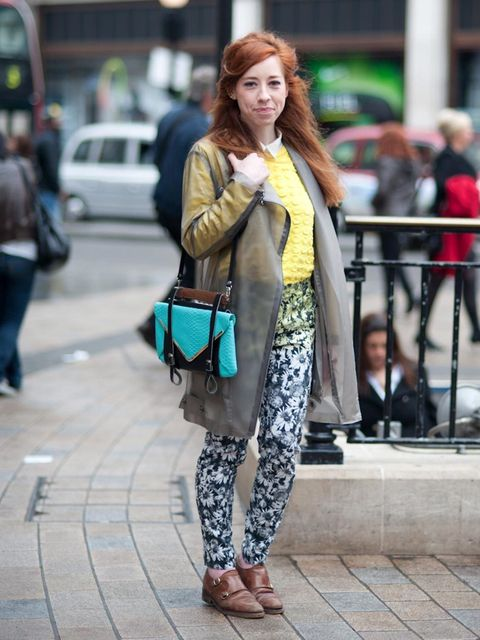 <p>Eugenia Alehos, 25, Designer. H&amp&#x3B;M coat &amp&#x3B; jeans, Cos jumper, vintage shoes, Topshop ring, Eugenia Alehos bag.</p><p>Photo by Stephanie Sian Smith</p>